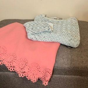 LOFT Dot Lace Sweatshirt 3/4 sleeves - Mint